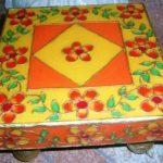 TRADITIONAL INDIAN ART MEENAKARI CHOWKI USED FOR POOJA AND DECORATION